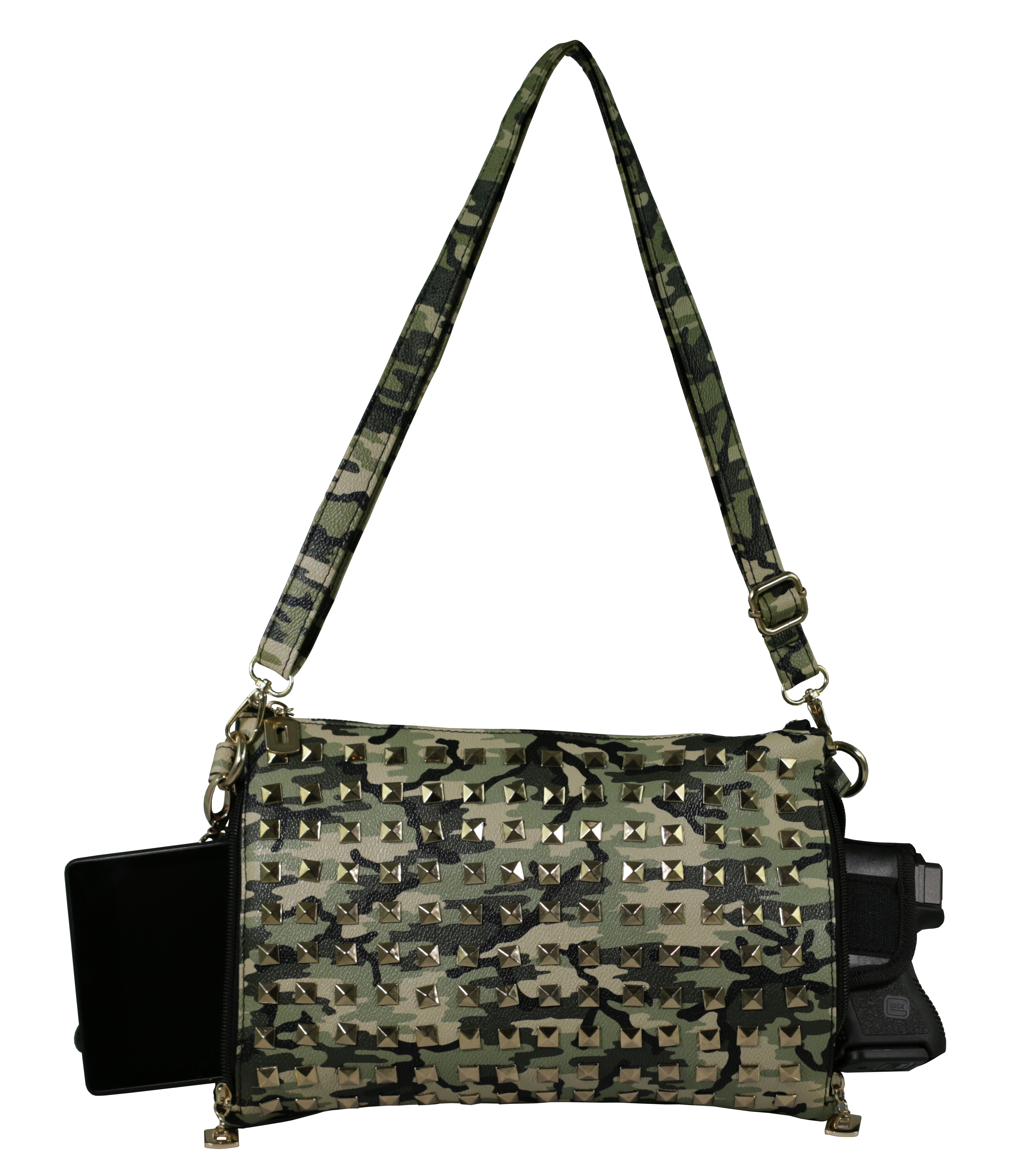 Green Camo Studded <br> Crossbody/Clutch/Shoulder <br> Concealed Carry Handbag <br> with Custom Holster