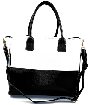 Fashionable Black White Concealed Carry Tote Handbag With Custom Holster 01