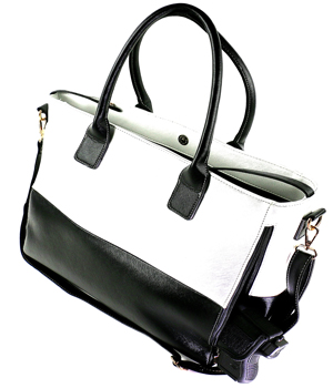 Black & White Tote Concealed Carry Handbag with Custom Holster