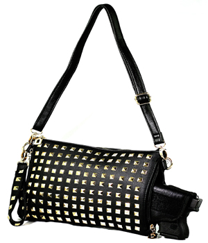 Black Studded Crossbody/Clutch/Shoulder Concealed Carry Handbag with Custom Holster
