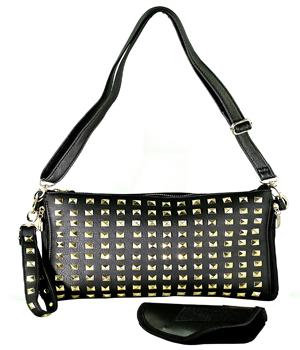 Gun S Inc Fashionable Black Gold Pyramid Studded Crossbody Clutch Shoulder Carry Concealed Handbag 05