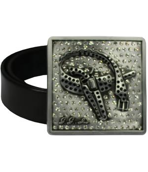 Antique Silver Quality Crystals Custom Logo Belt Buckle