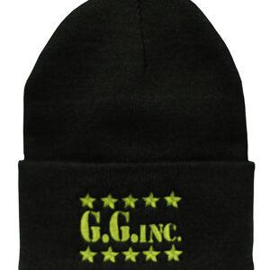 g_g_inc_black_green_lettering_knitted_beanie
