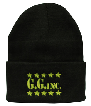 g_g_inc_black_green_lettering_knitted_beanie